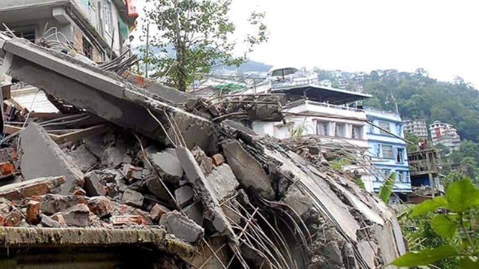 Damaged homes in Lumsey, on the outskirts of Gangtok.