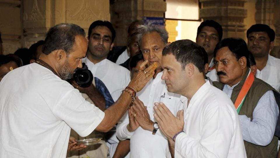 Congress vice-president Rahul Gandhi visits the Somnath Temple in Gujarat.