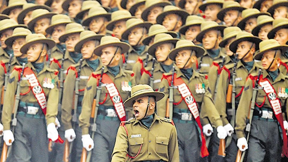 An Army contingent of Gorkha Rifles during the 68th Republic Day Parade in New Delhi.