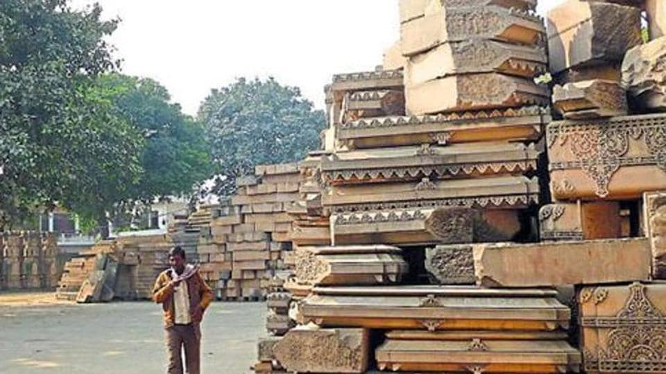 Stones at the disputed Ram Janmabhumi-Babri Masjid site.