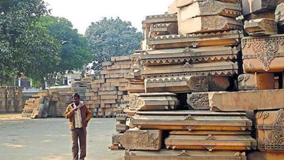File photo of arrival of stones from Rajasthan at the disputed Ram Janmabhumi-Babri Masjid site.