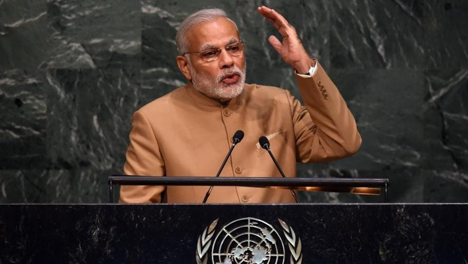 Prime Minister Narendra Modi speaks at the United Nations Sustainable Development Summit to the at the United Nations General Assembly in New York September 25, 2015.
