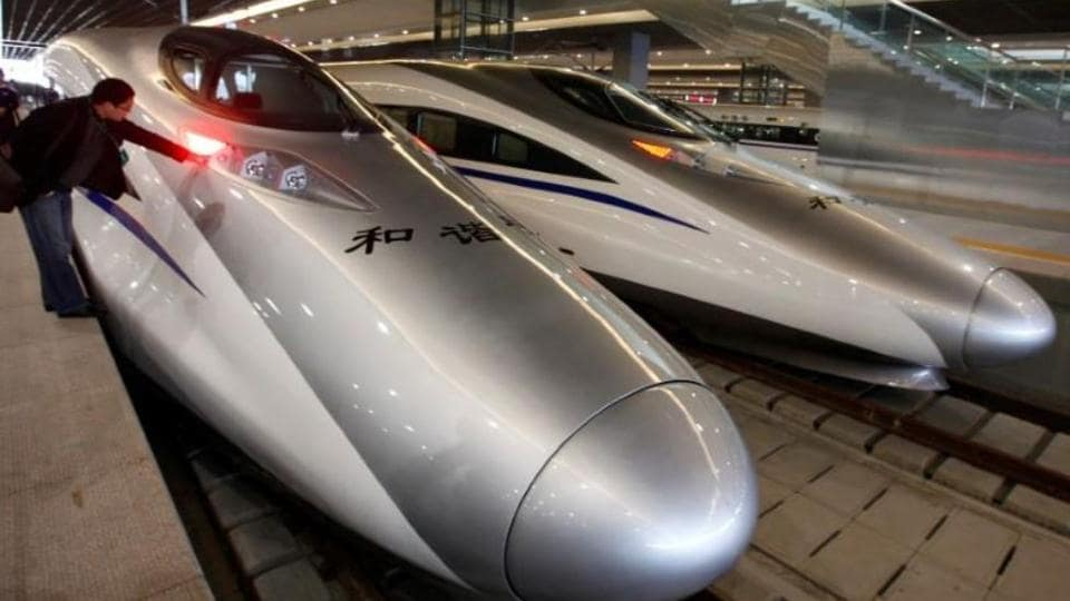 China high speed railways,train line across Qinling mountains,bullet trains