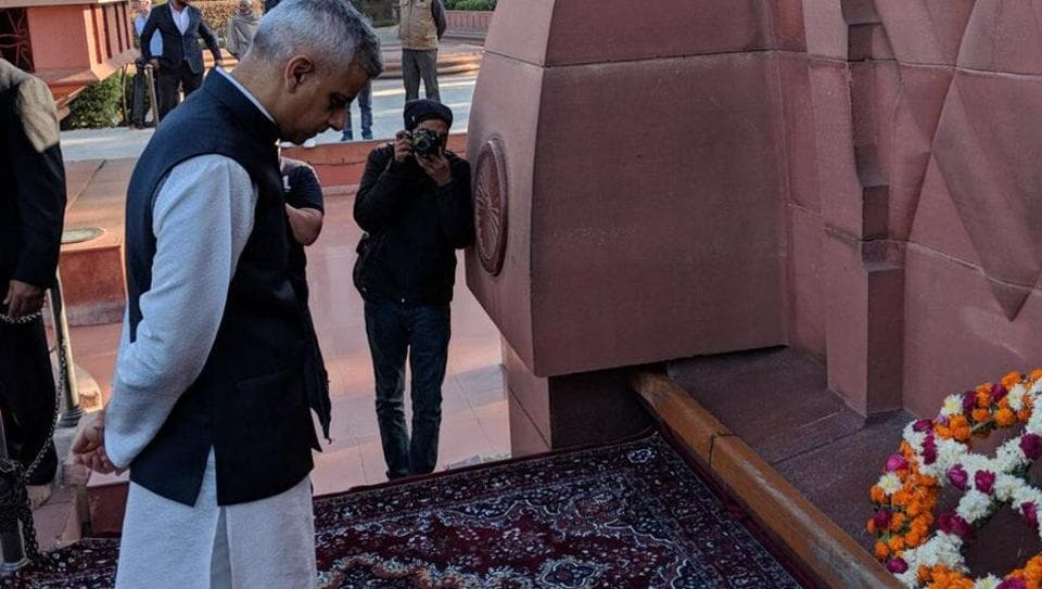 Mayor of London Sadiq Khan paying tribute to martyrs at the Jallianwala Bagh in Amritsar on Wednesday.