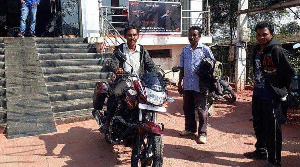 Dana Majhi outside a Honda showroom in Bhawanipatna in Odisha's Kalahandi district.