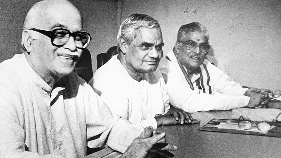 (L to R) BJP leaders LK Advani, AB Vajpayee and Murli Manohar Joshi seen at a party National Executive Committee meeting. BJP president Lal Krishna Advani in 1990 went on a Somnath-to-Ayodhya Rath Yatra to 'educate people' about the movement to build a temple at the disputed site. In 1991, BJP became the country's primary opposition party and came to power in Uttar Pradesh. The momentum for the temple movement increased as kar sevaks (volunteers) poured into Ayodhya. (HT Photo)