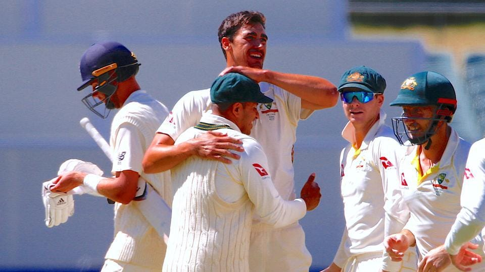 Australia's Mitchell Starc celebrates after dismissing England's Stuart Broad during the fifth day of the second Ashes Test match. England coach Trevor Bayliss said after the match thatEngland need to avoid batting collapses in the next three games.