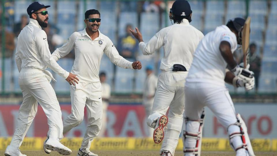 Ravindra Jadeja celebrates after the dismissal of Sri Lanka batsman Angelo Mathews during the fifth day of the third Test between India and Sri Lanka at the Feroz Shah Kotla in New Delhi on December 6, 2017.