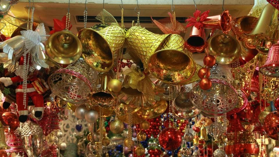 Christmas decorative items on sale at Delhi's Khan Market ahead of Christmas on December 22, 2016.