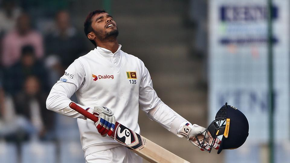 After Chandimal was dismissed and Dhananjaya (above) had to retire hurt with injury, iy looked like India had smelt a chance. (AP)