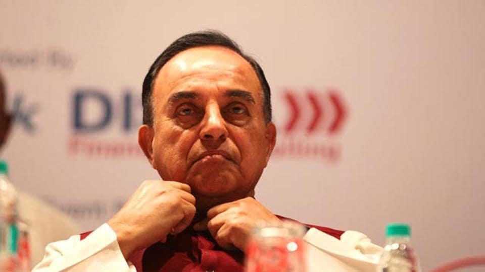 BJP leader Dr Subramanian Swamy interacted on the black money bill, in Mumbai. (Anshuman Poyrekar/HT photo)