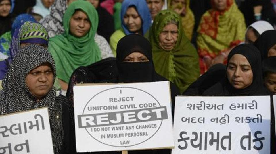 File photo of women at a rally to oppose Uniform Civil Code.