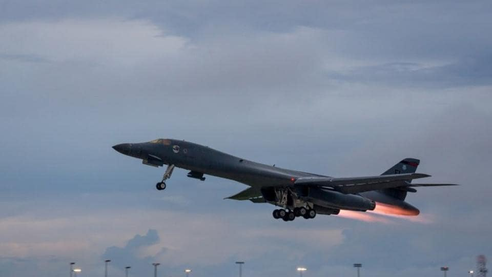 A US Air Force B-1B Lancer assigned to the 37th Expeditionary Bomb Squadron, takes-off to fly a bilateral mission with Japanese and South Korea Air Force jets in the vicinity of the Sea of Japan.