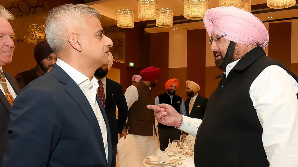 Punjab chief minister Captain Amarinder Singh in conversation with London mayor Sadiq Khan at a dinner hosted by Punjab government in Amritsar on Tuesday.