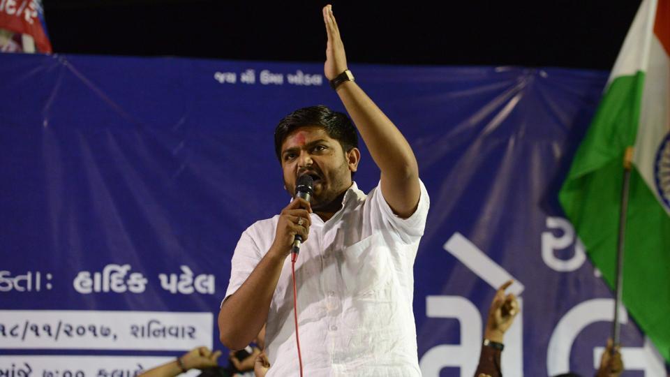 Hardik Patel addressing a gathering with his supporters during 'Adhikar Sammelan' at Mansa, some 50 km from Ahmedabad.