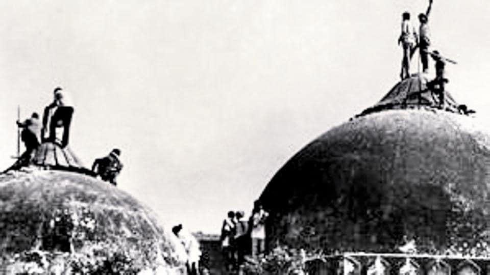 Karsevaks atop the Babri Masjid in December 1992.