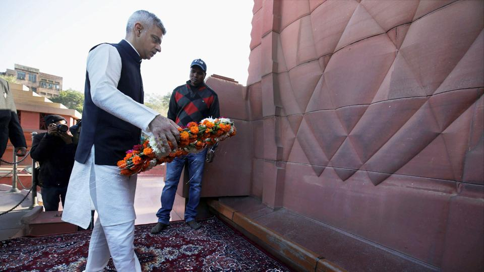 London Mayor Sadiq Khan lays a wreath at the martyrs' memorial, during his visit to the Jallianwala Bagh in Amritsar on Wednesday.