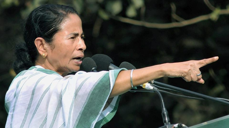 West Bengal chief minister and Trinamool Congress supremo Mamata Banerjee speaks during 'Sanhati Diwas', an event organised for peace and harmony, in Kolkata on Wednesday.