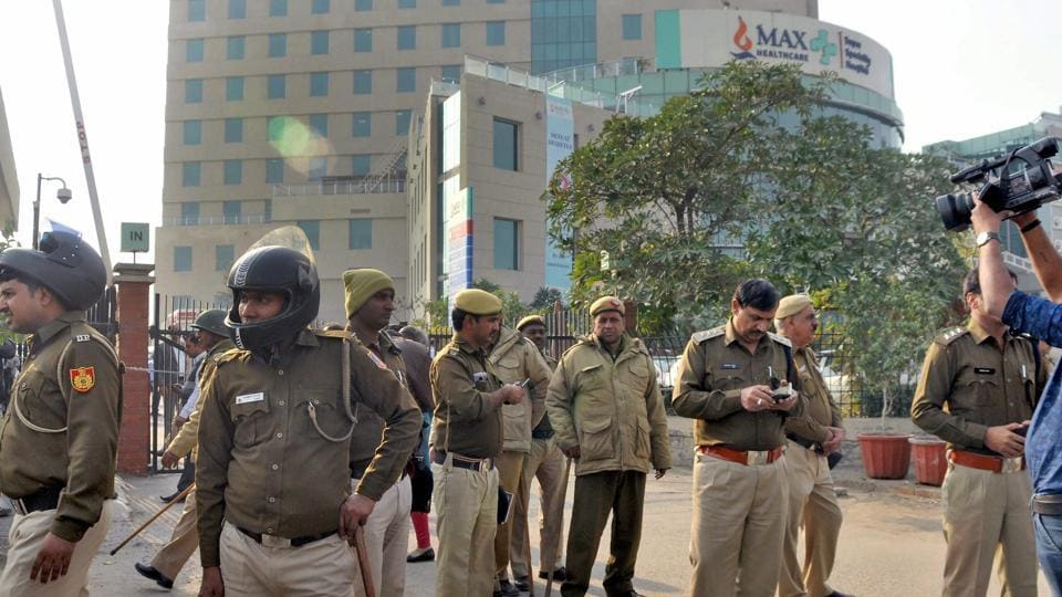 Police force deployed outside Max Hospital, Shalimar Bagh, where a newborn baby was wrongly declared dead.