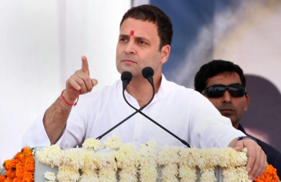 Congress vice president Rahul Gandhi addresses an election campaign rally at Anjar in Kutch district of Gujarat.