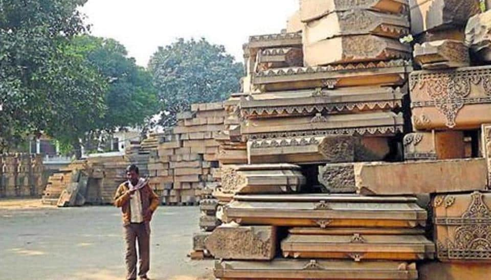 Bricks and stones meant for constructing the Ram temple piled up at the site of the erstwhile Babri Masjid in Ayodhya.