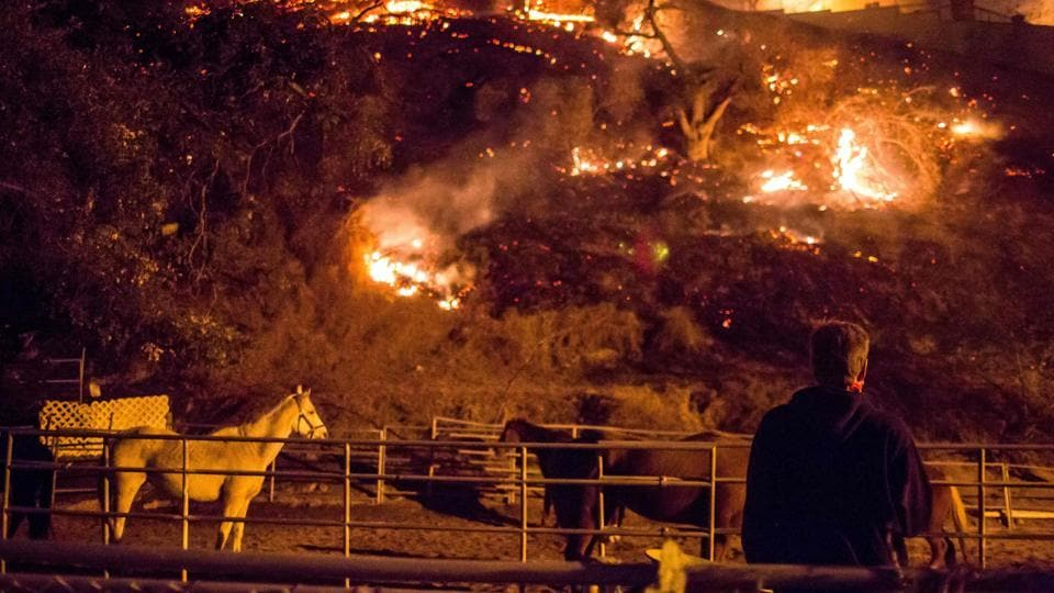 A man watches as the Creek Fire burns behind a hillside near houses in the Shadow Hills neighborhood of Los Angeles, California, on December 5.