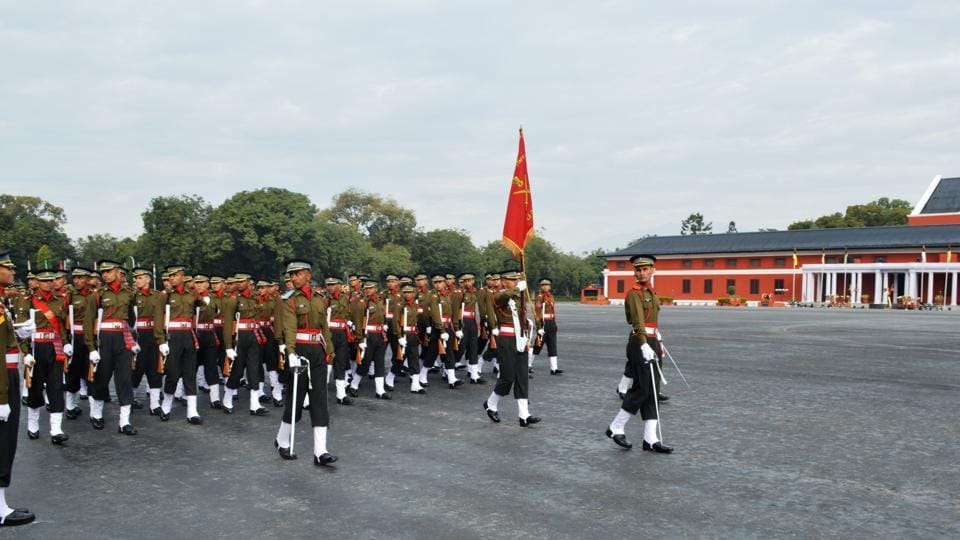 Gentleman cadets at the march past at the Indian Military Academy in Dehradun on Thursday .