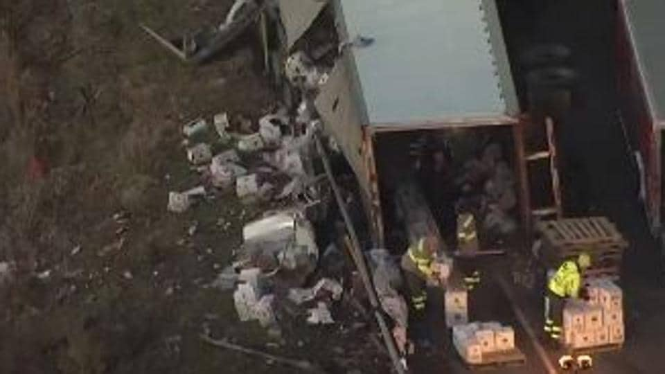A screengrab of the overturned truck carrying vodka.