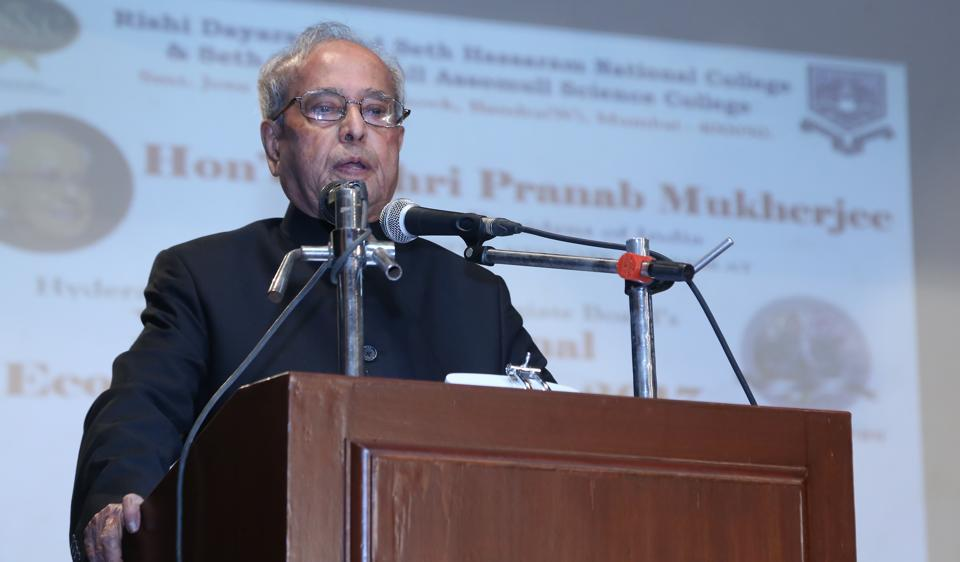 Former president Pranab Mukherjee at National College on Thursday.