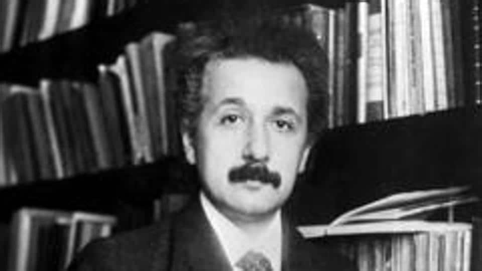 German born mathematical atomic physicist Albert Einstein (1879 - 1955).