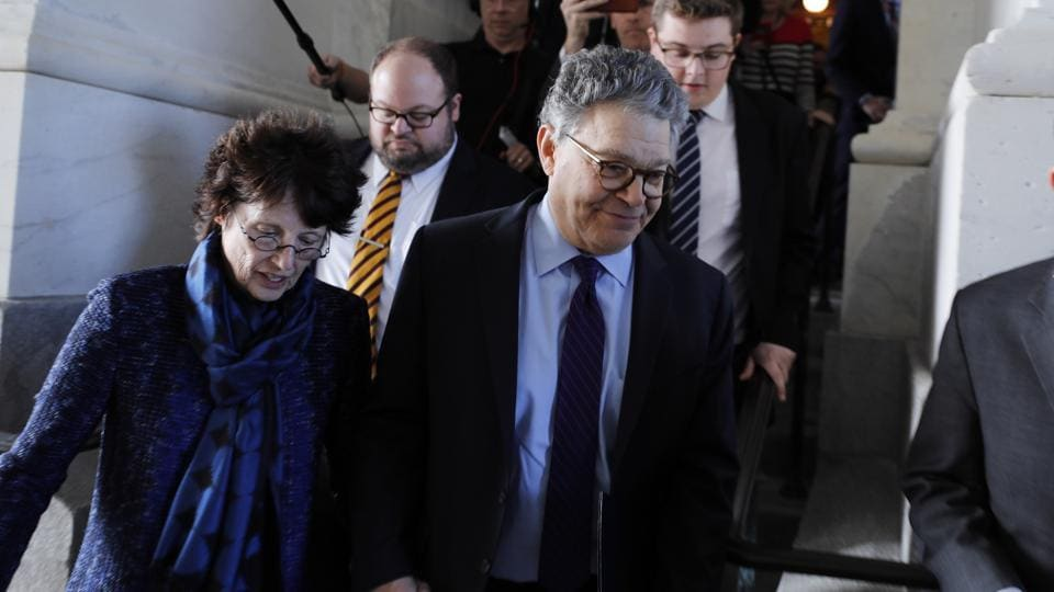 US senator Al Franken departs the US Capitol with his wiife Franni after announcing his resignation amid allegations of sexual misconduct in Washington on December 7, 2017.