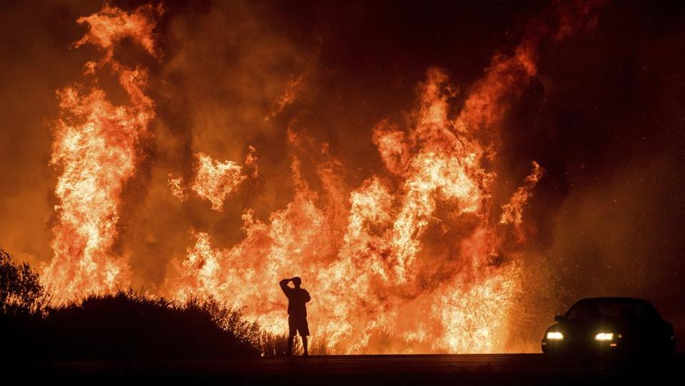 A fast-moving wildfire whipped by hot, dry Santa Ana winds destroyed hundreds of homes in and around Ventura, California, forcing thousands of residents to flee ahead of the flames. The blaze, dubbed the Thomas Fire, broke out Monday evening in the foothills above Ventura. Winds quickly drove it westwards into the city. A motorist on Highway 101 watches flames above the roadway north of Ventura. (Noah Berger / AP)