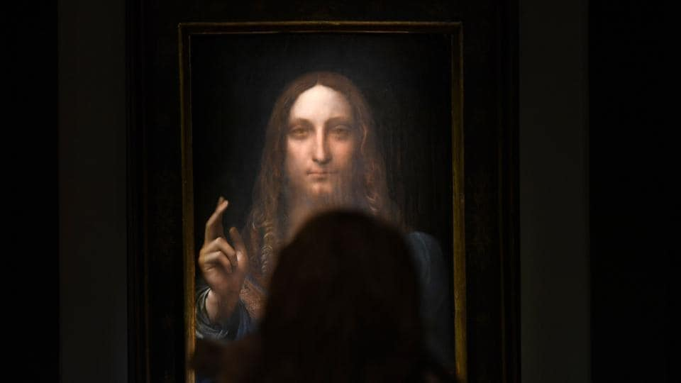 This file photo taken on November 03, 2017 shows Leonardo da Vinci's 'Salvator Mundi' on display at Christie's New York during a press preview for the Post-War & Contemporary Art Evening Sale.