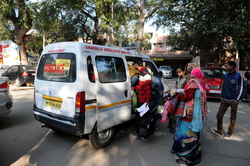 With as many as 650 NHM workers in Gurgaon on strike, kin of some patients had to hire private ambulances to have them shifted to Delhi's Safdarjung Hospital.