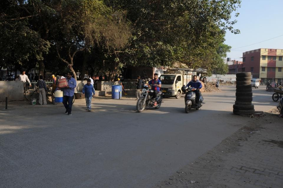 The spot where the victim, Surender, was stopped by the accused on a scooter, as he was on his way home.