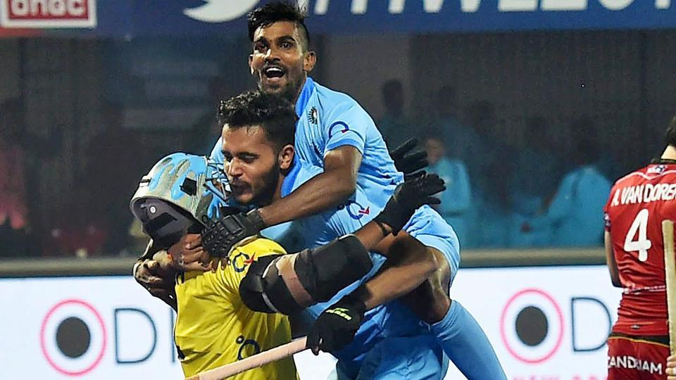 Indian hockey team players celebrate after beating Belgium in the quarterfinal of the FIHHockey World League Final on Wednesday. India, who had finished last in their pool with no wins, were underdogs against Belgium, the winners of the other pool. But the knockouts saw the hosts play on a different plane to shock the Europeans.