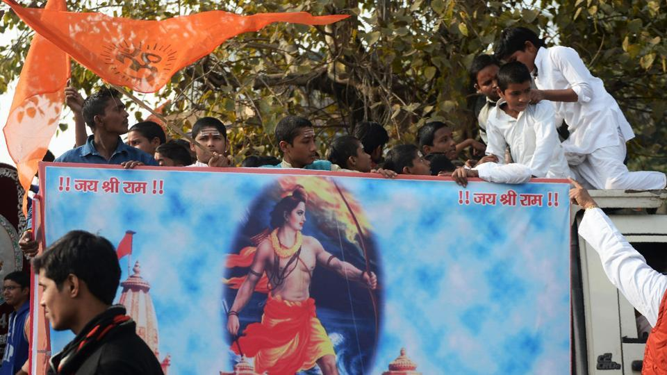 Youths from the Veda Vidyalaya religious school take part in a procession organised by the Vishwa Hindu Parishad to mark Shaurya Diwas, the 25th anniversary of the demolition of the 16th century Babri Mosque in Ayodhya, in Allahabad on December 6.