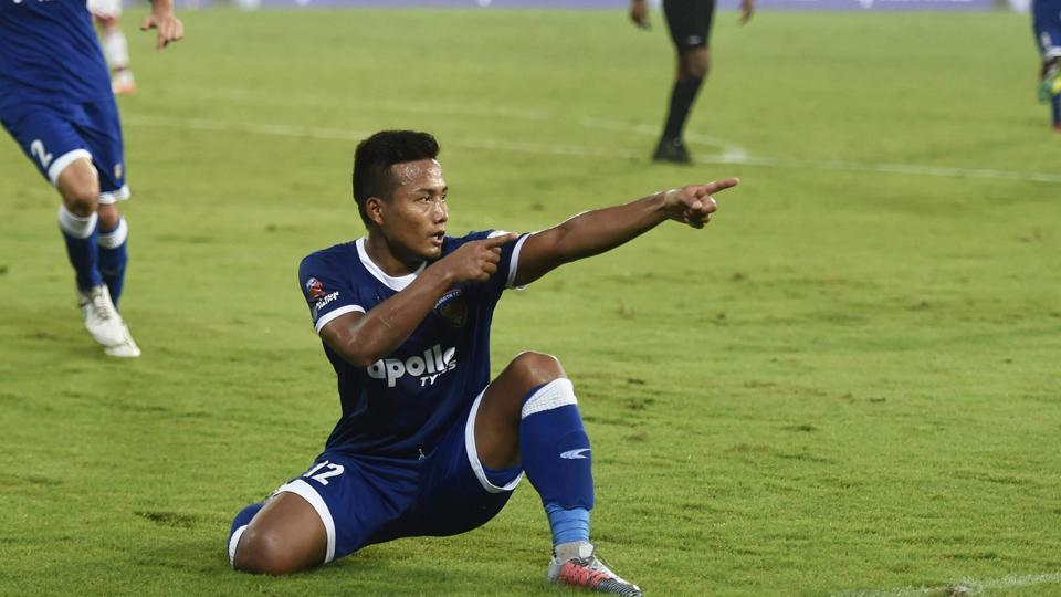 Chennaiyin FC's Jeje Lalpekhlua celebrates after scoring a goal against ATK during their Indian Super League (ISL) match at the Jawaharlal Nehru Stadium in Chennai on Thursday.