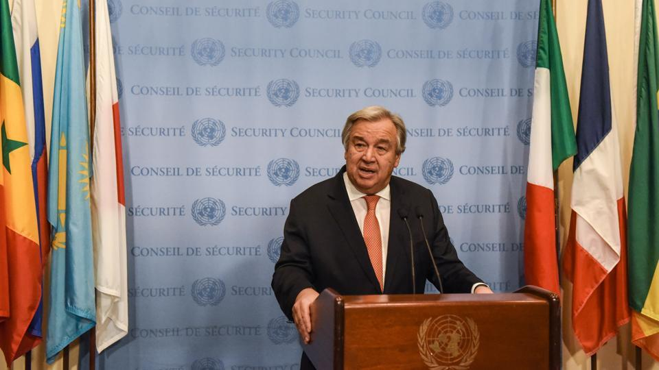 "UN Secretary General Antonio Guterres delivers remarks in New York City on December 6, 2017. Not mentioning Trump's decision, he said that ""in this moment of great anxiety, I want to make it clear: there is no alternative to the two-state solution. There is no Plan B."" Guterres said he'll do ""everything in my power"" to promote the return to negotiations ""and to realise this vision of a lasting peace for both people."" (Stephanie Keith / Getty Images / AFP)"