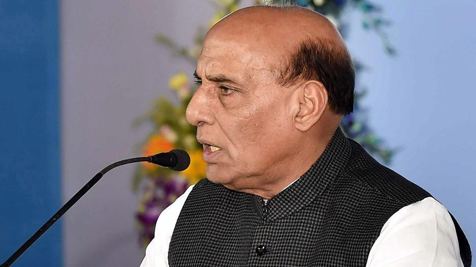 Union home minister Rajnath Singh addresses the media after a meeting on Indo-Bangla border at Nabanna in Kolkata on Thursday.