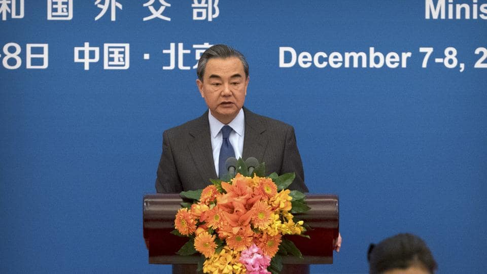 Chinese Foreign Minster Wang Yi speaks during the South-South Human Rights Forum at the Great Hall of the People in Beijing, Thursday.