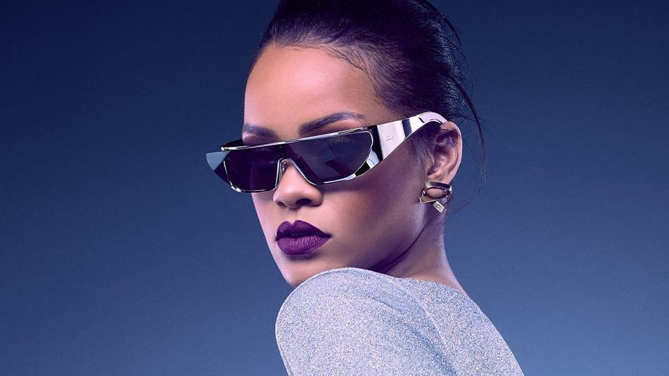 7b33791858f4 Rihanna in a 2017 Dior ad with gorgeous violet lips and purple-tinted  sunglasses. She best represents the attitude associated with the colour.