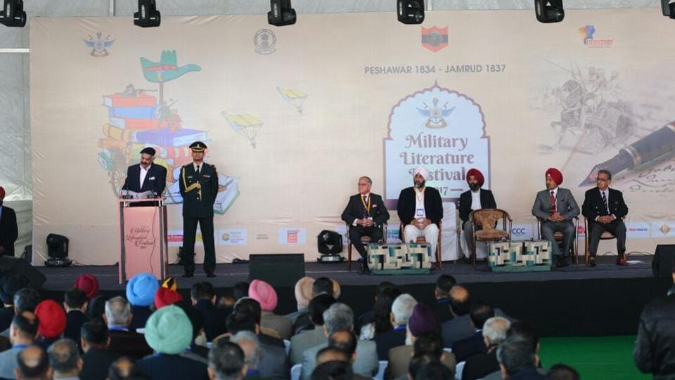 """Governor of Punjab VP Singh Badnore addresses the festival. Also speaking on the significance of the event, Major General BS Grewal (retd), said, """"Cadets at our institute are looking forward to the festival with great enthusiasm. The experience will be very beneficial for them because they will get an opportunity to meet and interact with many veterans."""" (Anil Dayal / HT Photo)"""