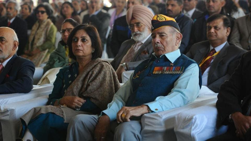 Delegates attend the inaugural speech during the first ever Military Literature Festival in Chandigarh. A 'Children's Samwad' with over 1200 students estimated to turn up will be an opportunity to interact with war veterans students. These veterans include heroes from the 1962 Sino-India war, the 1965 Indo-Pak war, the Bangladesh liberation war of 1971 and the 1999 Kargil war.  (Anil Dayal / HT Photo)