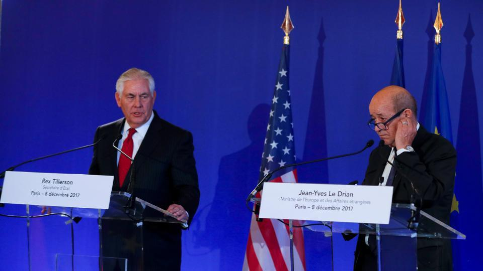 US secreatry of state Rex Tillerson speaks with French foreign affairs minister Jean-Yves Le Drian as they attend the Lebanon international support group meeting in Paris, France.