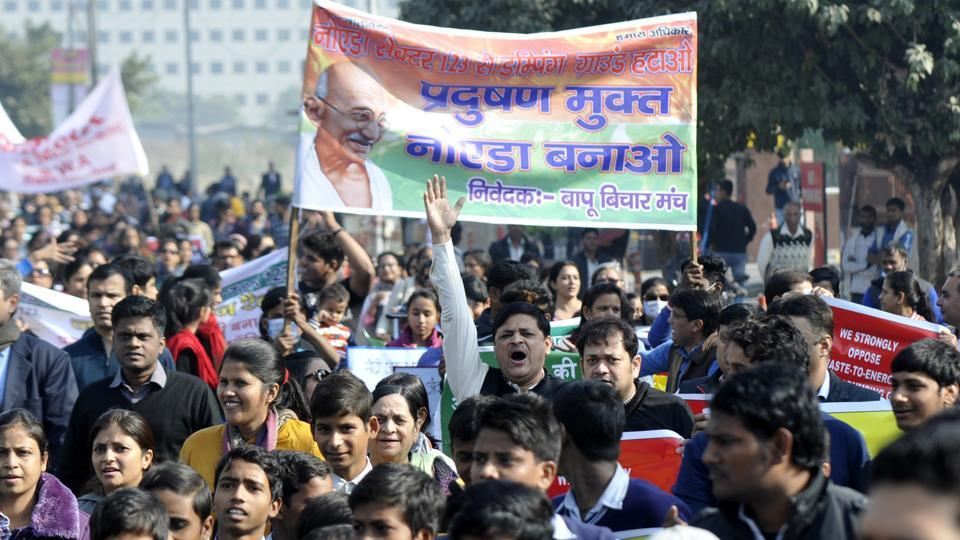 Residents marched from Noida stadium to the authority's headquarters in Sector 6.