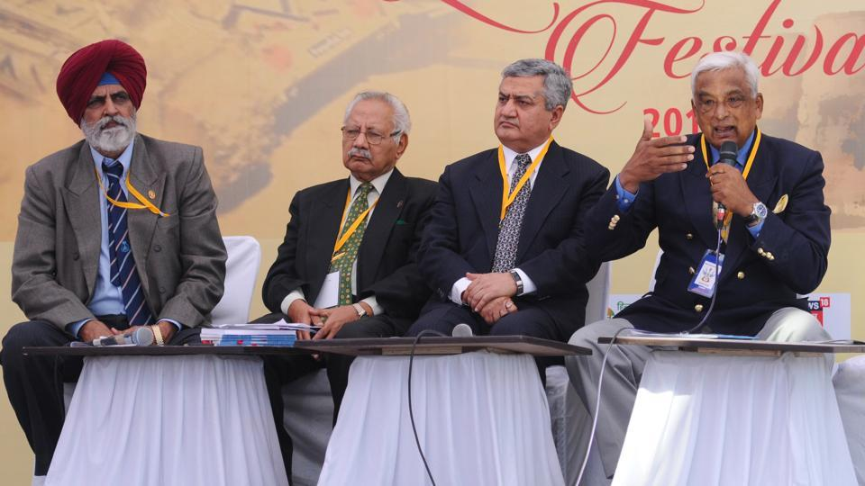 From left: Lt Gen Aditya Singh, Commodore (Retd) Ranjit B Rai, vice-admiral Satish Soni , and Brigadier RJS Dhillon during a  panel discussion on the 'Shape and Contours of the Indian Navy of the Future' at the Military Literature Festival in Chandigarh on Friday.