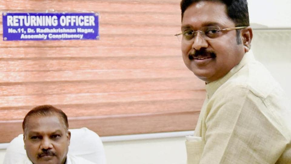 Ousted AIADMK leader TTV Dhinakaran filed his nomination in Chennai for the RK Nagar bypoll to be held on December 21.