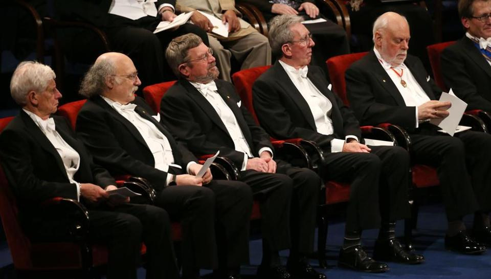 This file photo taken on December 10, 2016 shows Nobel Prize laureates in Physics and Chemistry in Stockholm. The Nobel Prize statistics are dour reading for women, who've won only one of every 20 prizes.