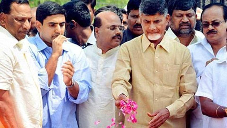 Nara Lokesh, Andhra Pradesh IT minister, and his father, Chandrababu Naidu, the state chief minister, at a political rally.